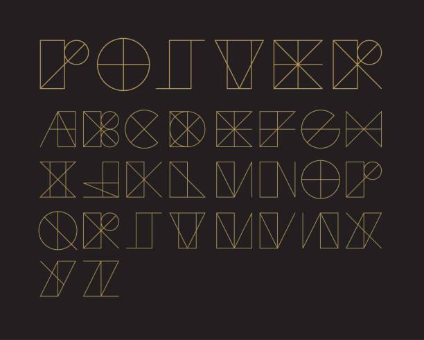 ilustraciones, imágenes clip art, dibujos animados e iconos de stock de se indica la fuente geométrica conjunto - tipos de letra y tipografía