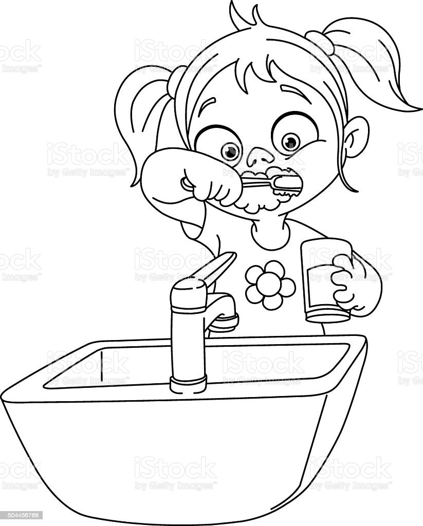 Outlined Girl Brushing Teeth Stock Vector Art Amp More
