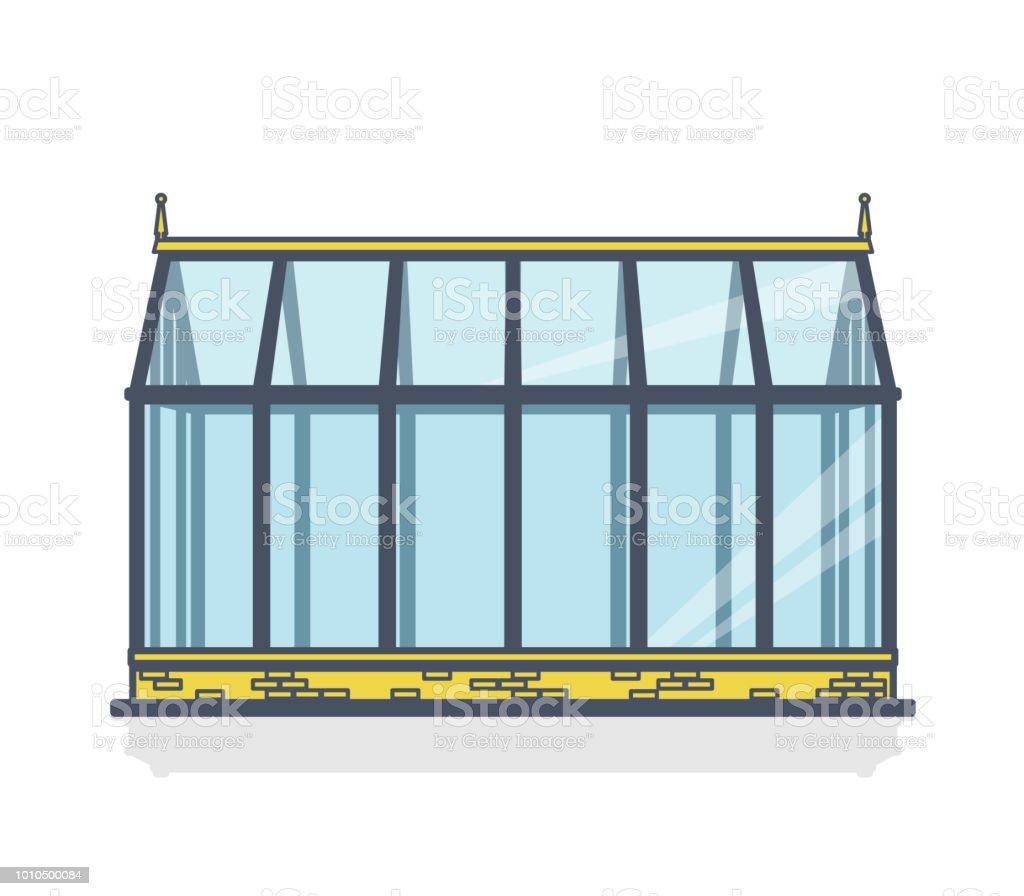 Geschetst van de broeikasgassen met glazen wanden, stichtingen, tuin bed - Royalty-free Architectuur vectorkunst