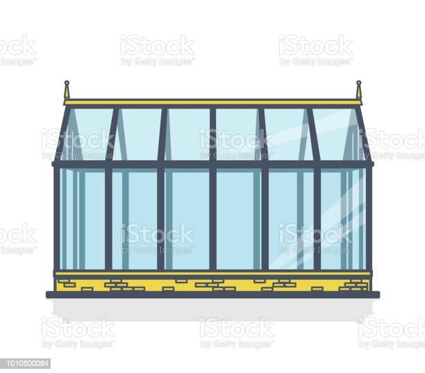 Geschetst Van De Broeikasgassen Met Glazen Wanden Stichtingen Tuin Bed Stockvectorkunst en meer beelden van Architectuur