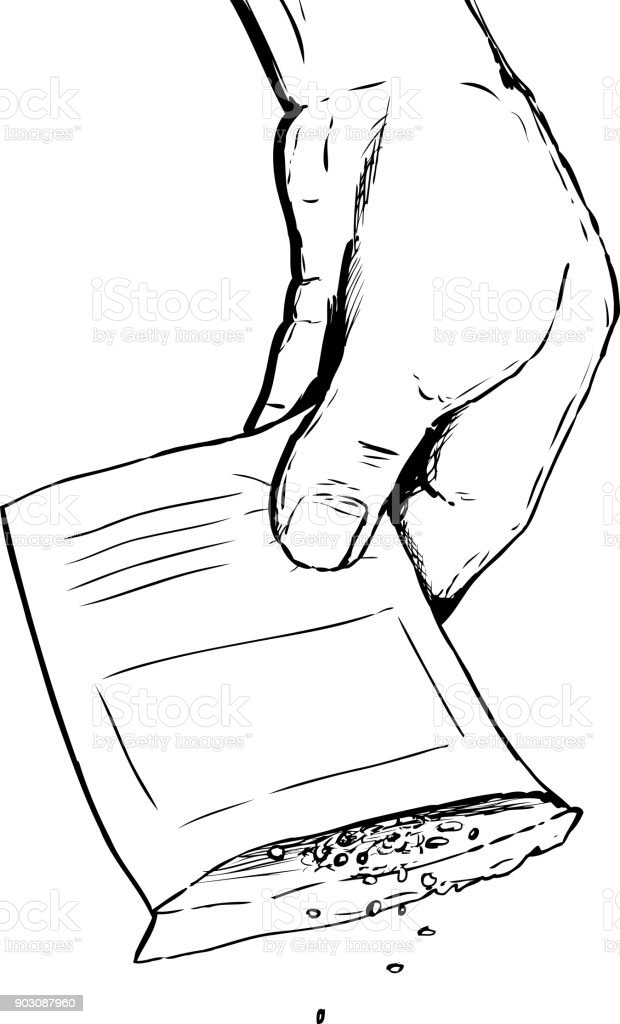 Outlined hand shaking out seeds over white vector art illustration