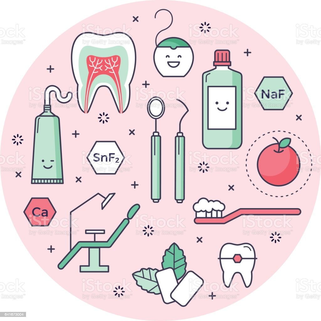 Outlined icons about dentistry vector art illustration