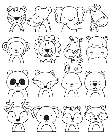 Outlined Jungle and Woodland Animal Faces Vector Illustration.