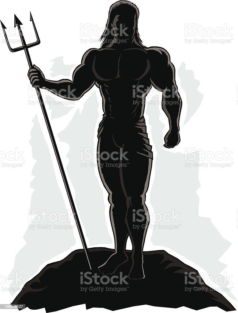 Outlined King Neptune royalty-free stock vector art