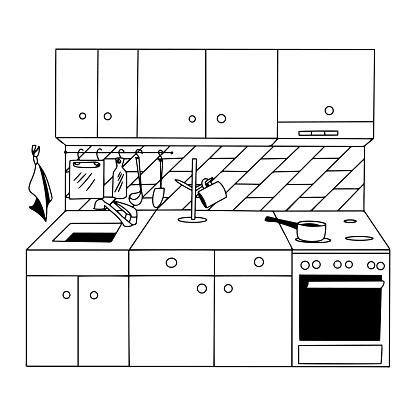Outlined kitchen corner