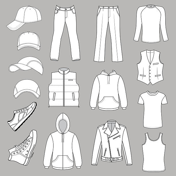 outlined menswear, headgear & shoes season collection - mens fashion stock illustrations, clip art, cartoons, & icons