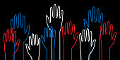 Vector illustration of patriotic red, white and blue outlined hands on a black background.