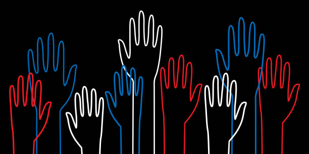 outlined raised hands - vote stock illustrations