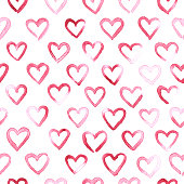 Beautiful small shapes of hearts arranged in a row across the entire surface of the white paper card.  Original and unique love elements design.   Seamless pattern - duplicate it vertically and horizontally to get unlimited area without visible connections. Zoom to see the details! Vector file. Great material for your design.