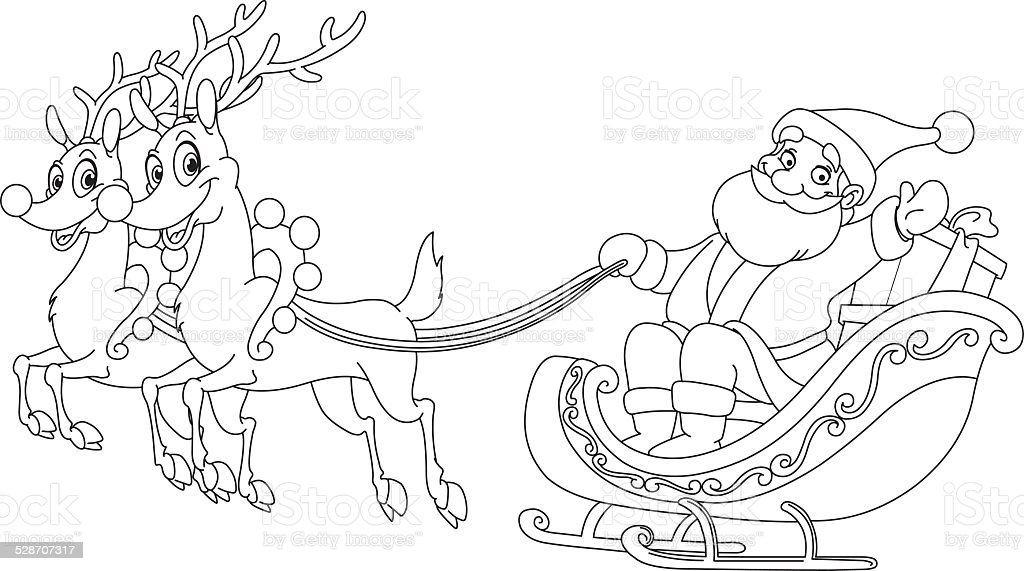 Outlined santa sleigh stock vector art more images of