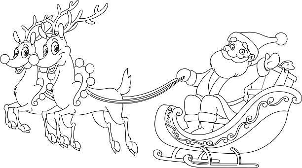 산따 썰매형 에 - 색칠하기 stock illustrations