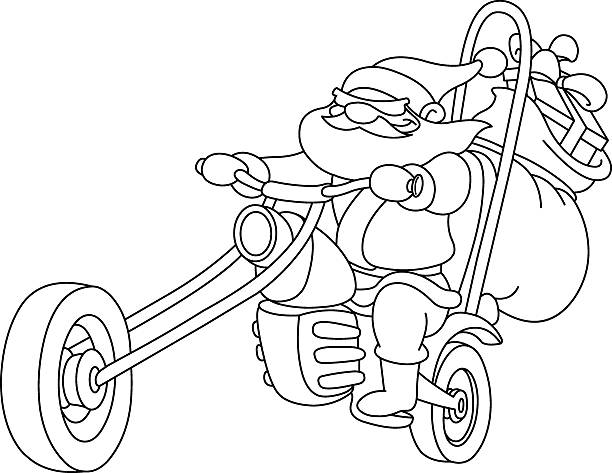 outlined santa with motorcycle - old man on bike stock illustrations, clip art, cartoons, & icons