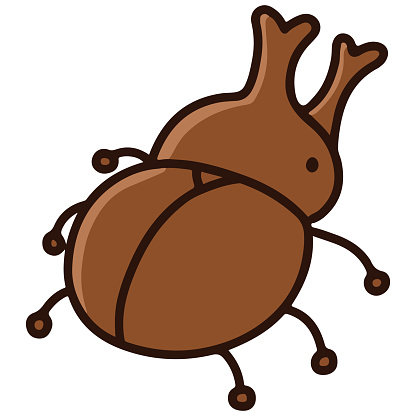 Outlined simple and cute brown beetle