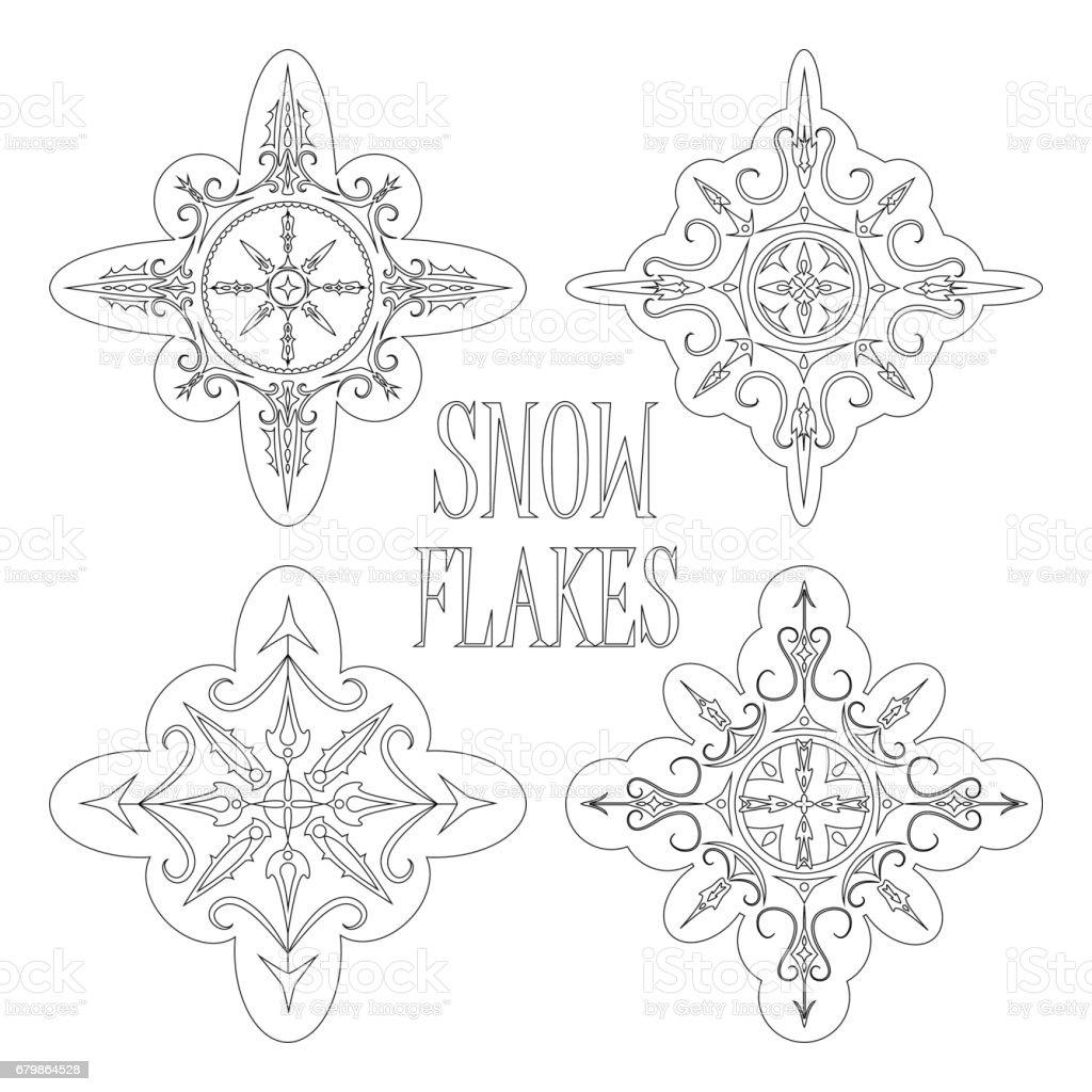 Seviyelendirilmis Kar Taneleri Boyama Ya Da Kis Mevsimlik Cizmek