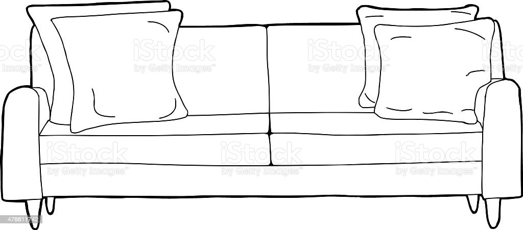 Outlined Sofa Cartoon Stock Vector Art More Images Of 2015 Istock