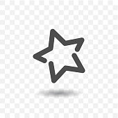 Outlined star icon on transparent background.
