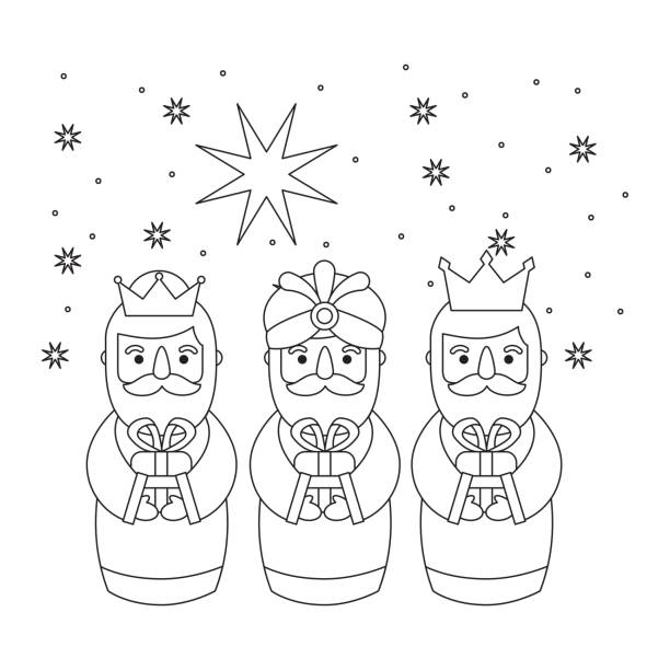 outlined three magic kings bring presents to jesus - getty stock illustrations