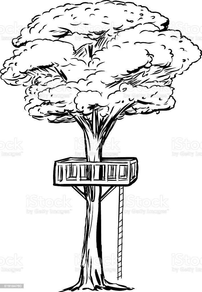 Stickerei Baumhaus Deck In Baum Stock Vektor Art Und Mehr Bilder Von