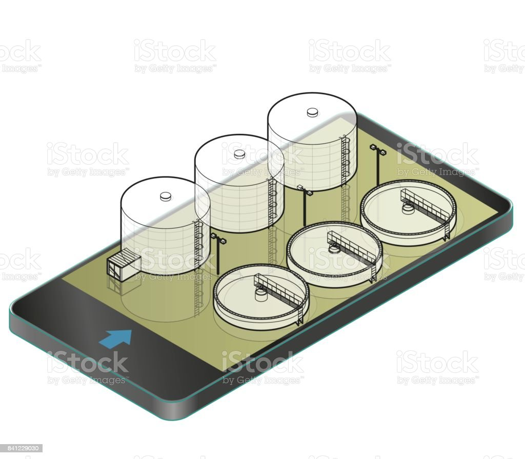 Outlined water treatment isometric building in mobile phone. Wire architecture plan. vector art illustration