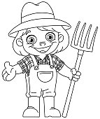 Outlined happy young girl farmer holding a pitchfork. Vector line art illustration coloring page.