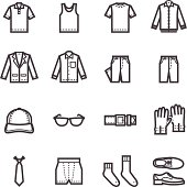 Outlines of men's clothing icons