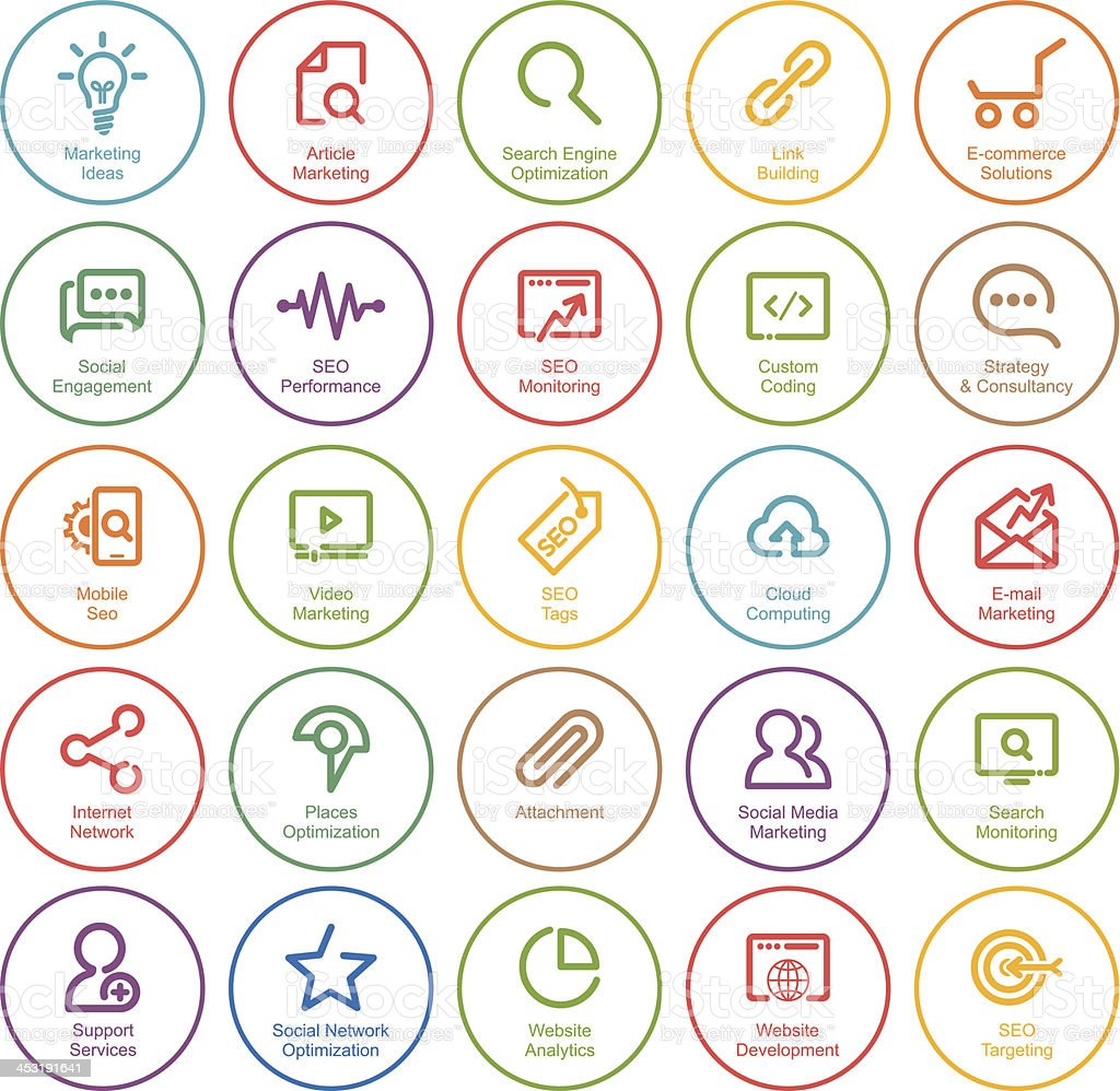 Outlines SEO Icon Set vector art illustration