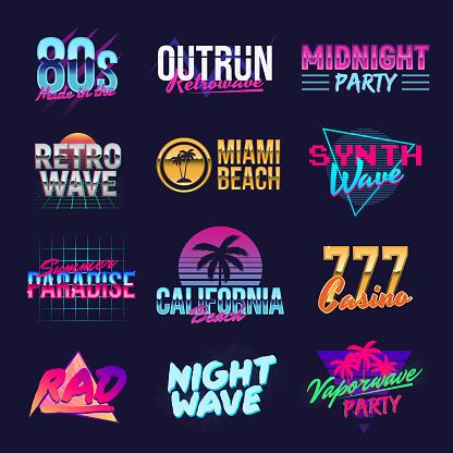 Outrun retro logo designs. Neon retro logos. Vaporwave, Retrowave, Synthwave logo templates. Vector retro 80's logos set. Trendy vintage graphics. Retro prints for T-shirt, typography.