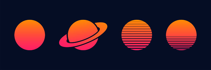 Outrun sun set vector planets isolated for decoration design. Futuristic design illustration. Summer vector illustration. Disco design. Vintage 1980s music illustration.