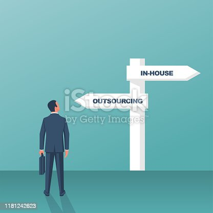 Outsource or inhouse - signpost. Businessman in front of a road sign. The choice of man. Banner outsourcing concept. Vector illustration flat design. Isolated on background.