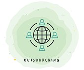 Outsourching Icon with Watercolor Patch