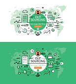 Outsourcing. Flat line color hero images and hero banners design concept