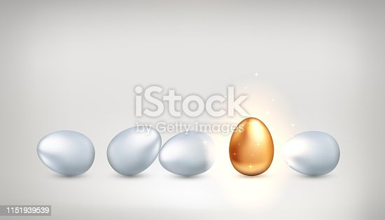 Outstanding golden egg among ordinary white eggs, the concept of exclusivity, creativity, success. Bright personality, successful personality. Vector illustration