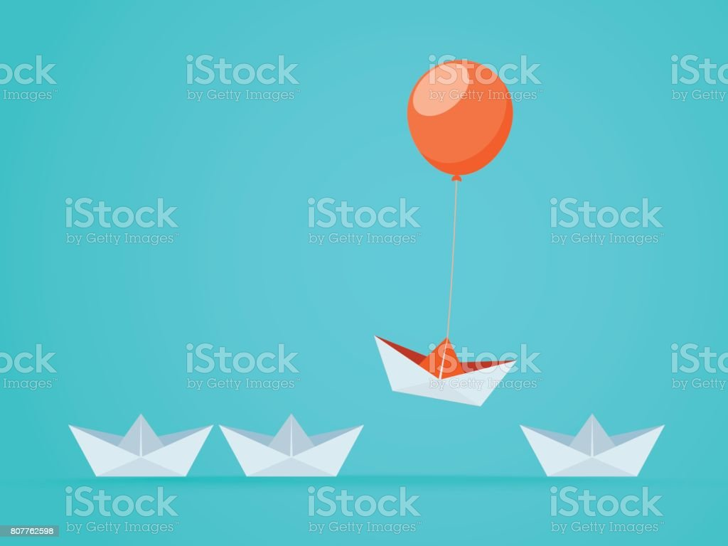 Outstanding the Boat rises above with balloon. Business advantage opportunities and success concept. Uniqueness, leadership, independence, initiative, strategy, dissent, think different. vector art illustration