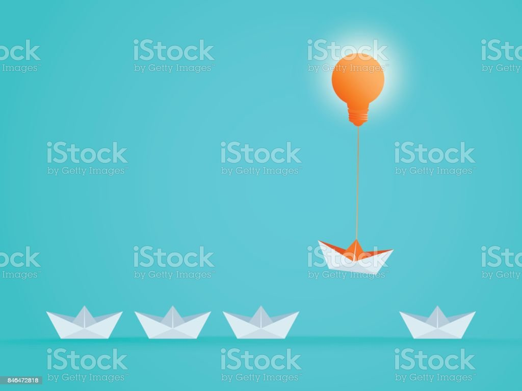 Outstanding the Boat rises above with light bulb idea. Business advantage opportunities and success concept. Uniqueness, leadership, independence, initiative, strategy, dissent, think different. vector art illustration