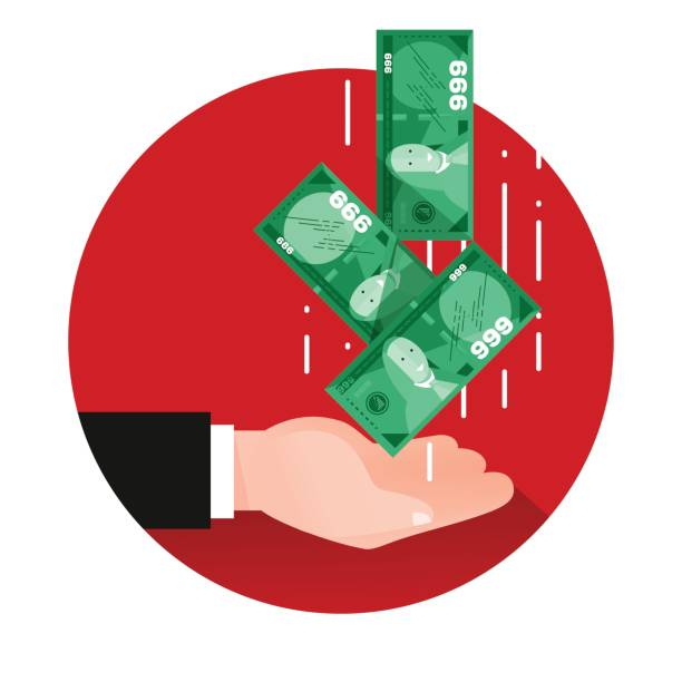 stockillustraties, clipart, cartoons en iconen met uitgestoken hand met dollars - dubbelopname businessman