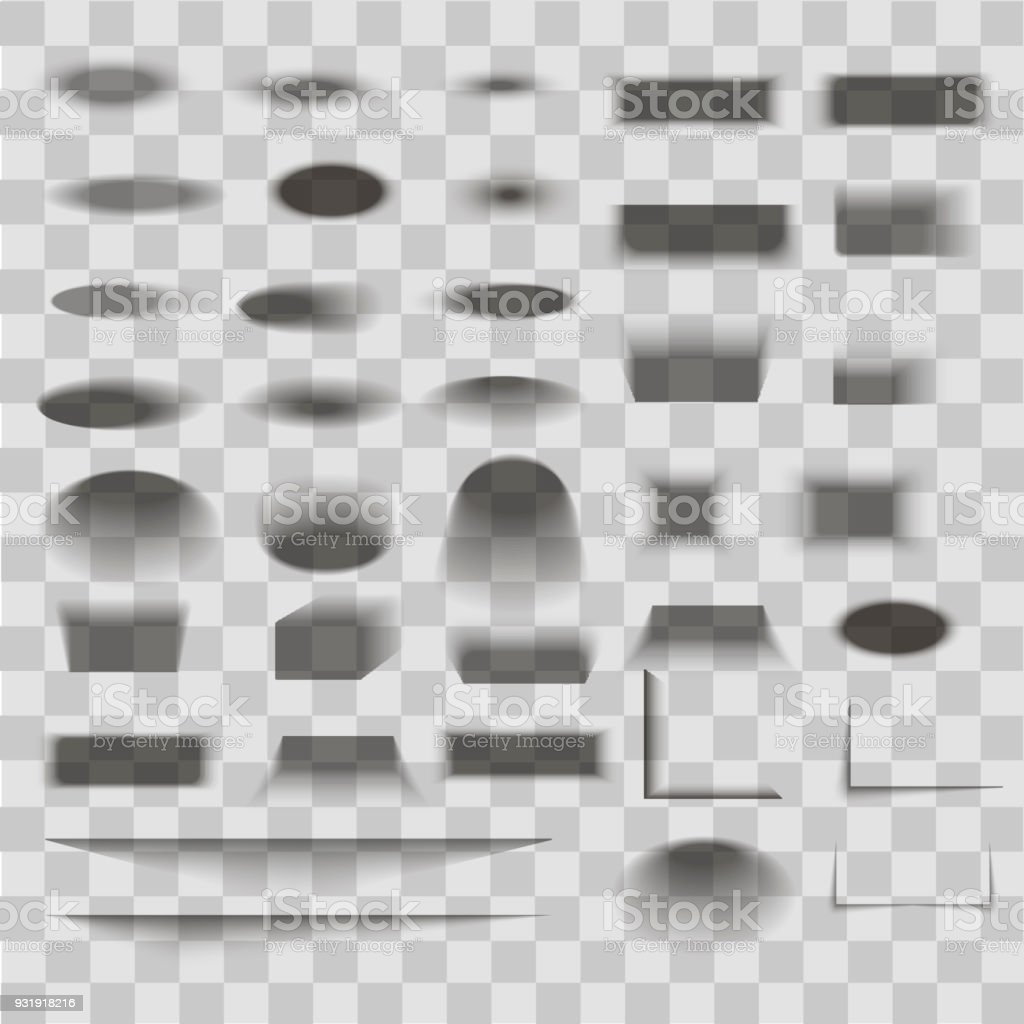 Oval and box shadow set transparent with soft edges isolated on checkered background. Vector vector art illustration