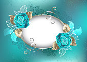 Oval, light banner, decorated with turquoise, roses with leaves of white gold on turquoise background. Blue Tiffany. Fashionable color. Turquoise rose.