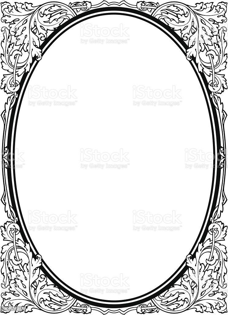 Oval baroque black picture frame vector art illustration
