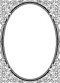 Oval baroque black picture frame