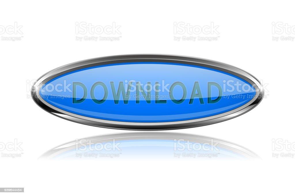 Ilustración de Botón De Descarga Azul Oval Con Marco Cromado Audaz ...