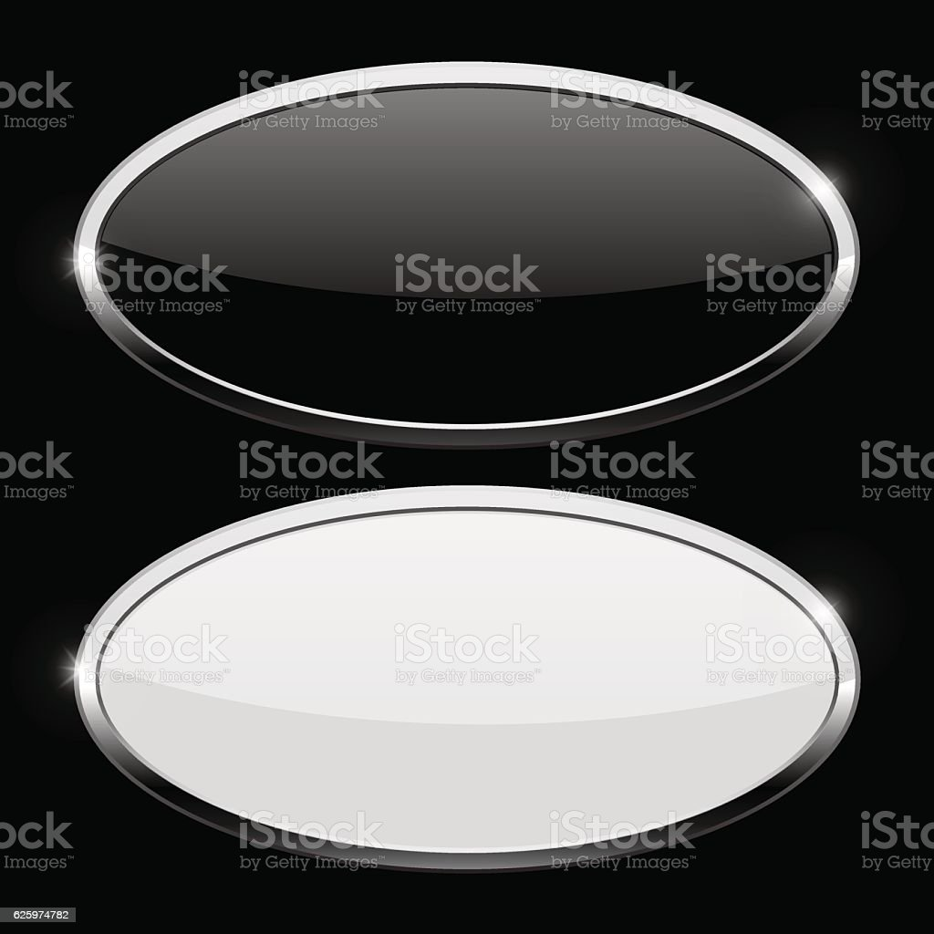 Oval button with chrome frame. Web icons on black background vector art illustration