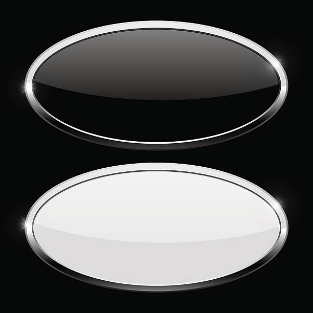 Oval button with chrome frame. Web icons on black background向量藝術插圖