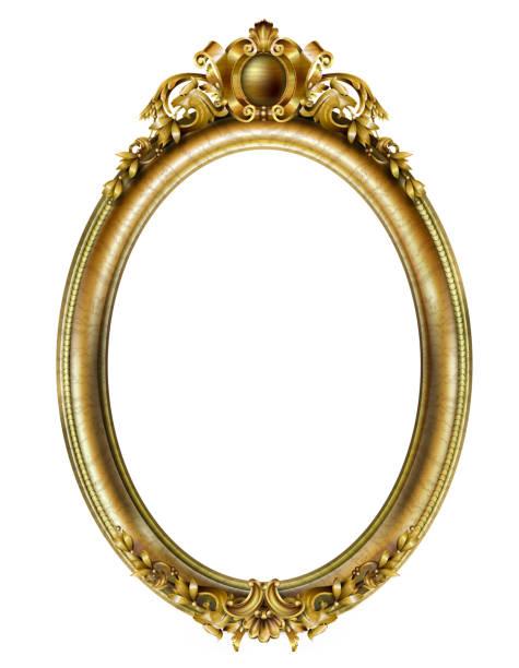 楕円形の古典的な金色の写真のバロックフレーム - ロココ調点のイラスト素材/クリップアート素材/マンガ素材/アイコン素材