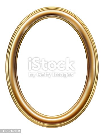Golden oval classic rococo baroque frame. Vector graphics. Luxury frame for painting or postcard cover