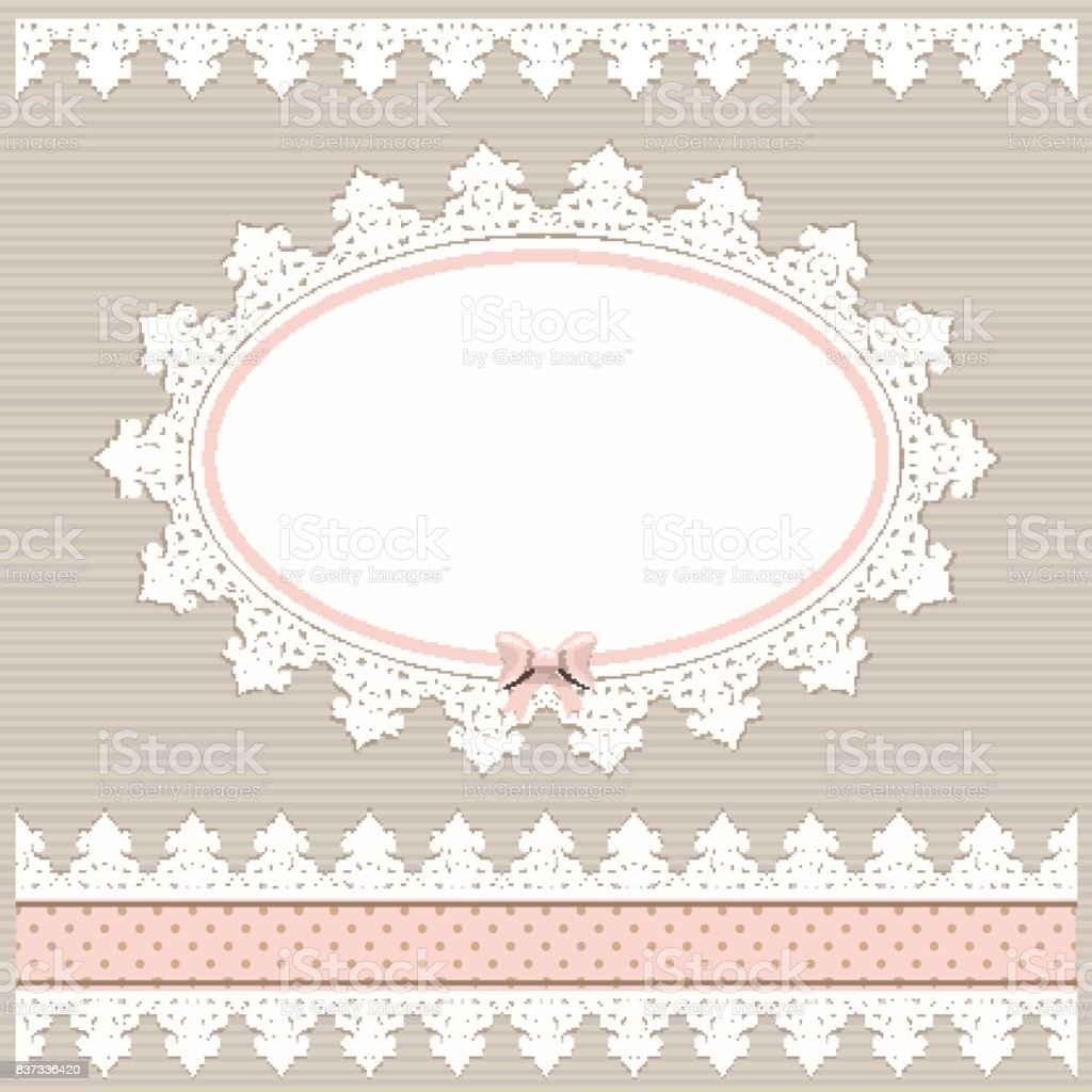 Oval Doily Frame With Lacy Border. Country Style. For Baby Shower, Menu,