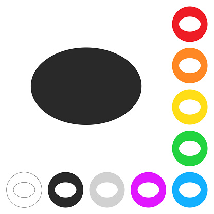 Oval. Flat icons on buttons in different colors