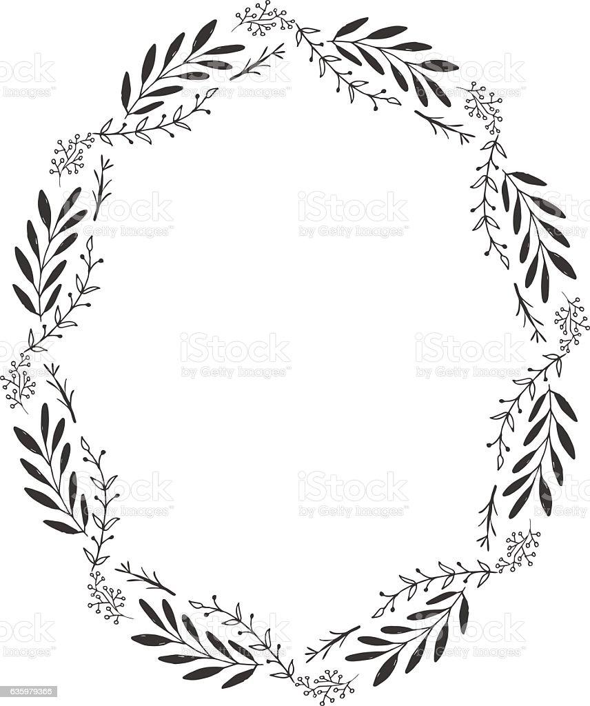 Oval floral frame vector art illustration