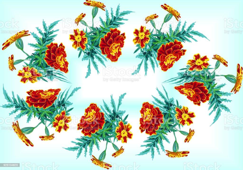 Ovalen Rahmen Aus Einem Bouquet Von Calendula Ringelblume Ehe Stock ...