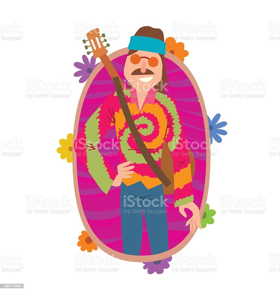 Oval frame, man hippie with brown hair and mustache vector art illustration