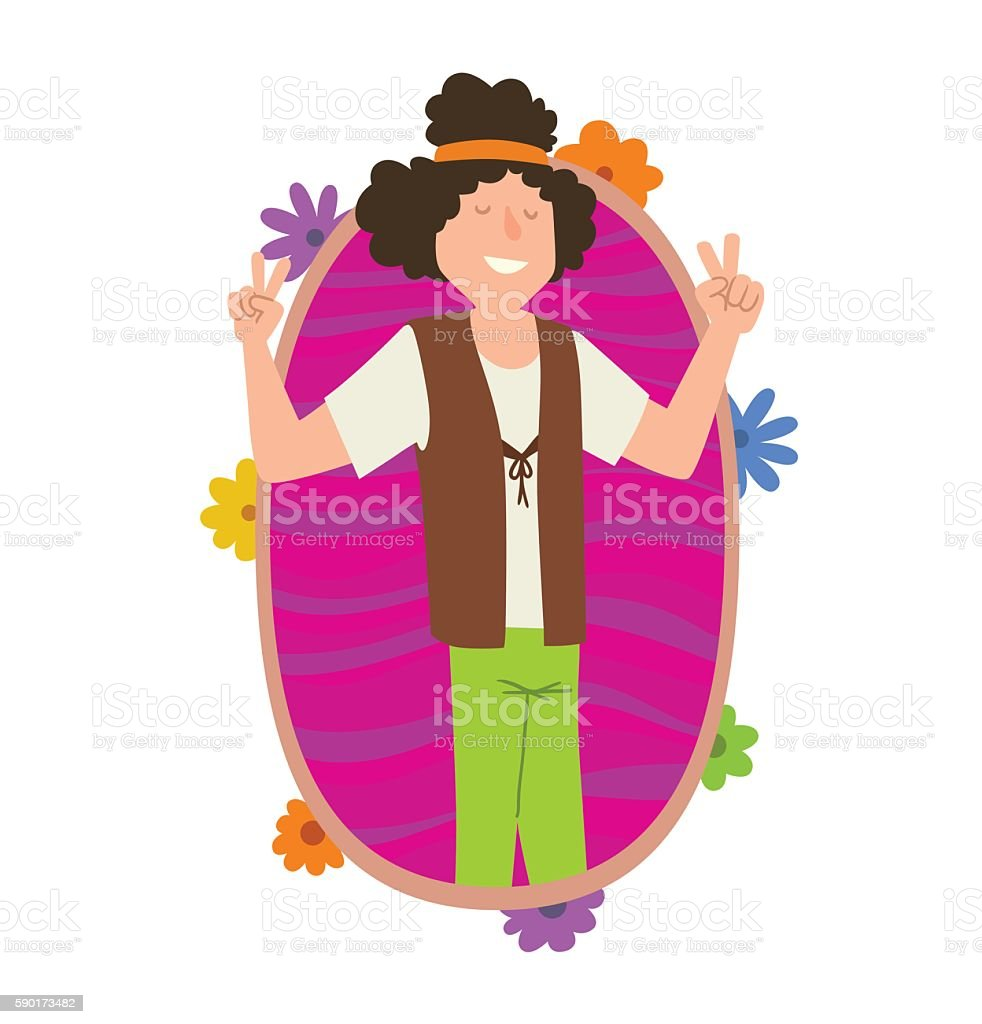 Oval frame, man hippie with curly black hair vector art illustration